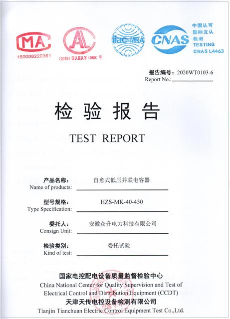 自愈式低压并联电容器检验报告