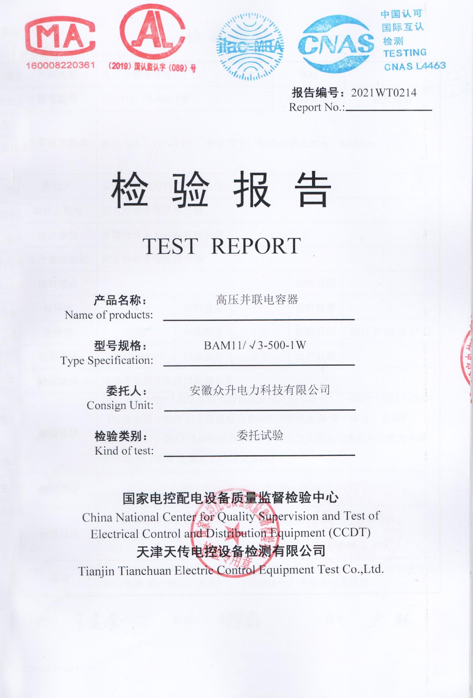 高压并联电容器检验报告